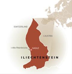 Ibalazwe elibonisa iLiechtenstein ephakathi komngcele waseSwitzerland nowase-Austria