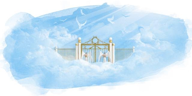 Pintura de una escena del cielo con dos ángeles de pie junto a una puerta