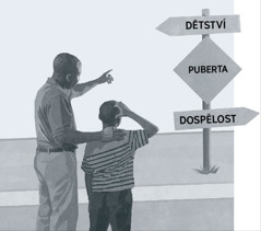 Táta ukazuje synovi rozcestník, na kterém je puberta vyznačená jako cesta mezi dětstvím a dospělostí