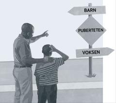 En far og søn kigger på et skilt der viser puberteten på vejen fra barndommen til voksenlivet