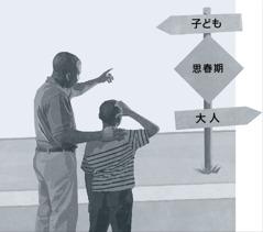 父親と息子が道路標識を見ている。それには,現在地が思春期で,子どもと大人の中間地点であることが示されている
