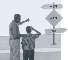 아버지와 아들이 아동기에서 성인기에 이르는 길에서 사춘기라고 적힌 표지판을 보는 모습