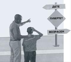 Татко и син гледаат во патоказ на кој е означен пубертетот како пат од детството кон зрелите години
