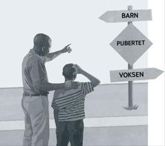 En far og en sønn ser på et skilt som viser puberteten på veien fra barn til voksen