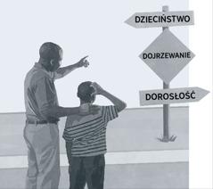 Ojciec isyn spoglądają na drogowskaz pokazujący, że dojrzewanie znajduje się na drodze prowadzącej od dzieciństwa do dorosłości