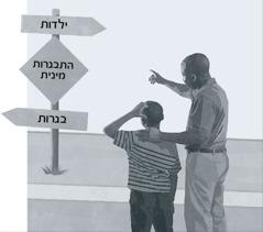 אב ובן מביטים בתמרור המורה על מיקום ההתבגרות המינית בדרך מהילדות אל הבגרות