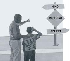 Un padre y su hijo miran una indicación que muestra que la pubertad está a medio camino entre la niñez y la edad adulta