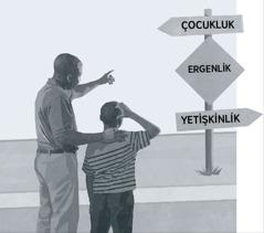 Bir baba ve oğlu üzerinde çocukluk, ergenlik ve yetişkinlik yazan yol tabelalarına bakıyor