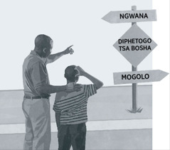 Rre le morwawe ba lebile pale ya matshwao a a reng: ngwana, diphetogo tsa bosha, mogolo