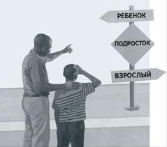 Отец с сыном смотрят на дорожный знак с указателями «Ребенок», «Подросток», «Взрослый»