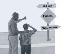 Ein Vater und sein Sohn schauen auf einen Wegweiser an der Straße, die von der Kindheit über die Pubertät zum Erwachsenen führt