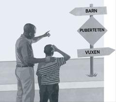 En pappa och hans son står framför en skylt som visar att man måste passera puberteten för att gå från barn till vuxen