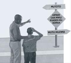 Baba na mutoto wake mwanaume wanaangalia alama yenye kuonyesha kipindi cha mwili kuanza kukomaa kuanzia utoto mupaka kuwa mutu muzima