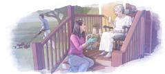 Starija žena sjedi ispred kuće, a mladić i djevojka uređuju dvorište