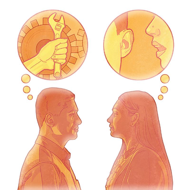 Una mujer piensa cómo hablar de un problema y un hombre piensa cómo solucionarlo