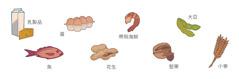 乳製品,蛋,帶殼海鮮,大豆,魚,花生,堅果,小麥