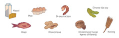 Maswi, mae, di-crustacean, dinawa tša soy, hlapi, ditokomane, ditokomane tša go kgewa dihlareng le korong