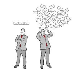 En mand tjekker sin e-mail tre gange om dagen og virker helt rolig; en anden mand tjekker sin e-mail hele tiden og virker stresset