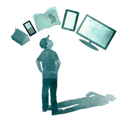 A boy looks at various ways to receive information—the Bible, a book, and electronic devices