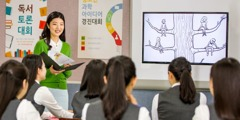 A guidance counselor in South Korea shows a video from the jw.org website to her class