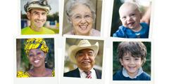 Människor i blandade åldrar och med olika nationalitet ler stort