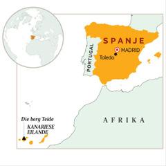 Spanje in oranje op die kaart aangedui
