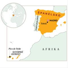 Mapa s vyznačeným Španělskem