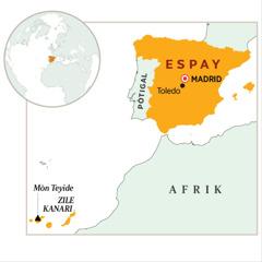 Yo montre Espay sou yon kat