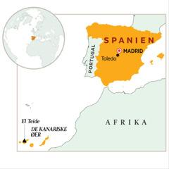 Et landkort med Spanien på