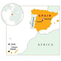 Spain highlighted on a map