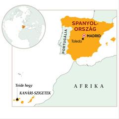 Spanyolország kiemelten a térképen