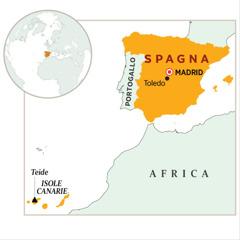 Una cartina che fa vedere dove si trova la Spagna