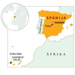 Karte, kurā izcelta Spānija