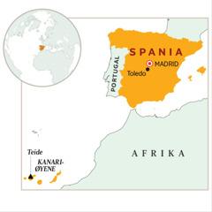 Et kart med Spania uthevet