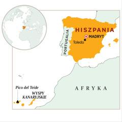Mapa zzaznaczoną Hiszpanią