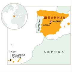 Шпанија истакнута на мапи