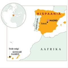 Kaardil esile tõstetud Hispaania