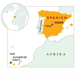 Spanien auf der Landkarte