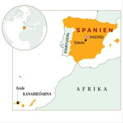 Spanien utmärkt på en karta