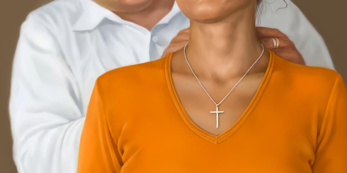 Um colar com um pingente de cruz