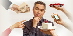 A man is tempted by a sports car, cigarettes, food, a woman, and money