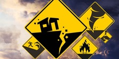 Road signs warn of various disasters