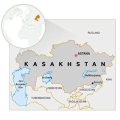 Et kort over Kasakhstan