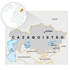Um mapa do Cazaquistão