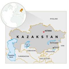 En karta över Kazakstan.