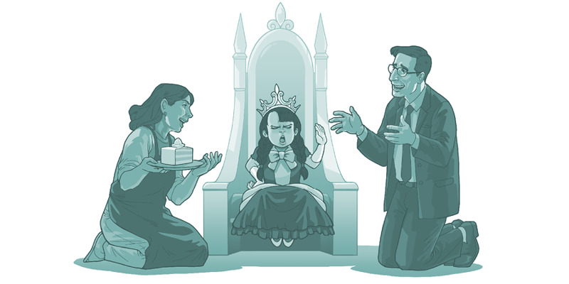 A little girl sits like a princess with her parents bowing down to her
