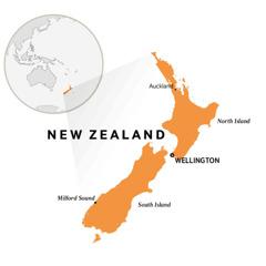 Mapu a padziko lonse osonyeza dziko la New Zealand