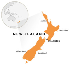 New Zealand on a world map