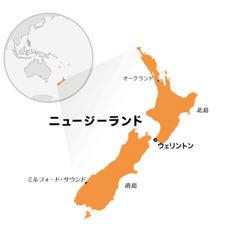 世界地図上のニュージーランドの位置