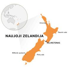 Naujoji Zelandija pasaulio žemėlapyje